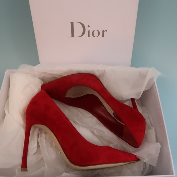 63a8fb00fcd Christian Dior Red Suede Leather Pointed Toe Pump